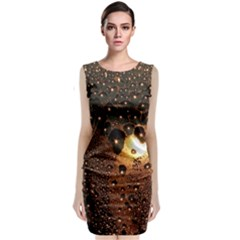 Condensation Abstract Sleeveless Velvet Midi Dress