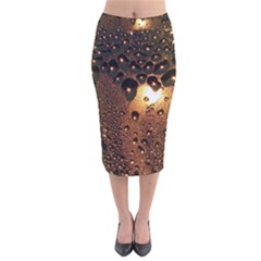 Condensation Abstract Velvet Midi Pencil Skirt