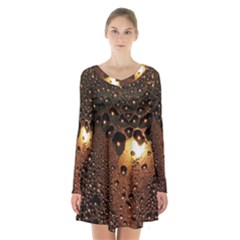 Condensation Abstract Long Sleeve Velvet V Neck Dress