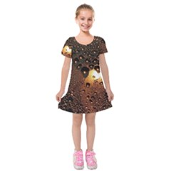 Condensation Abstract Kids  Short Sleeve Velvet Dress