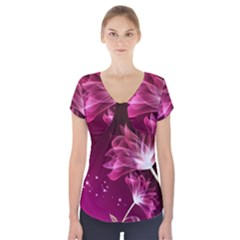 Drawing Flowers Lotus Short Sleeve Front Detail Top