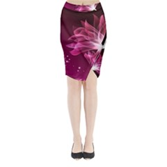 Drawing Flowers Lotus Midi Wrap Pencil Skirt