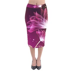 Drawing Flowers Lotus Velvet Midi Pencil Skirt