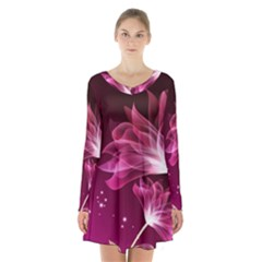 Drawing Flowers Lotus Long Sleeve Velvet V Neck Dress