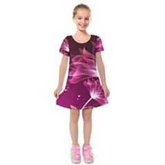 Drawing Flowers Lotus Kids  Short Sleeve Velvet Dress