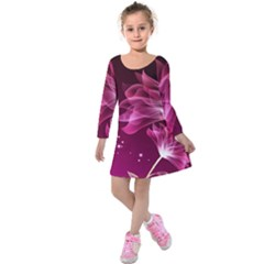 Drawing Flowers Lotus Kids  Long Sleeve Velvet Dress