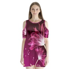 Drawing Flowers Lotus Shoulder Cutout Velvet  One Piece