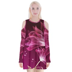 Drawing Flowers Lotus Velvet Long Sleeve Shoulder Cutout Dress
