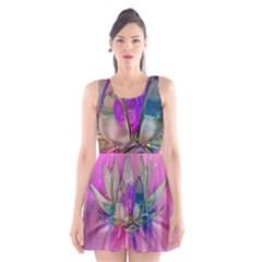 Crystal Flower Scoop Neck Skater Dress