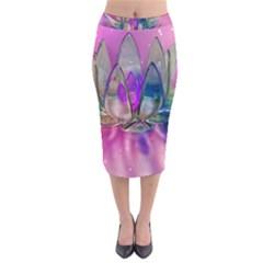 Crystal Flower Velvet Midi Pencil Skirt