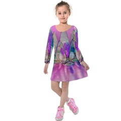 Crystal Flower Kids  Long Sleeve Velvet Dress