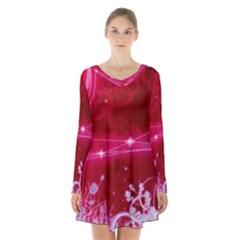 Crystal Flowers Long Sleeve Velvet V Neck Dress