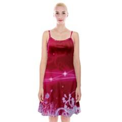 Crystal Flowers Spaghetti Strap Velvet Dress