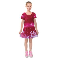 Crystal Flowers Kids  Short Sleeve Velvet Dress