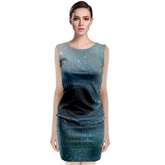 Cosmic Black Hole Sleeveless Velvet Midi Dress