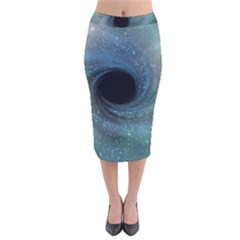 Cosmic Black Hole Velvet Midi Pencil Skirt