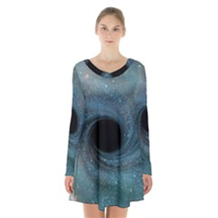 Cosmic Black Hole Long Sleeve Velvet V Neck Dress