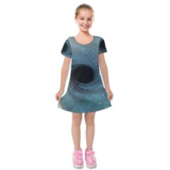 Cosmic Black Hole Kids  Short Sleeve Velvet Dress