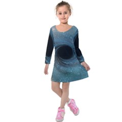 Cosmic Black Hole Kids  Long Sleeve Velvet Dress