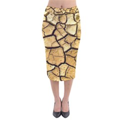 Dry Ground Velvet Midi Pencil Skirt