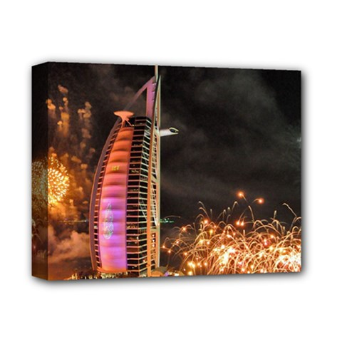 Dubai Burj Al Arab Hotels New Years Eve Celebration Fireworks Deluxe Canvas 14  X 11