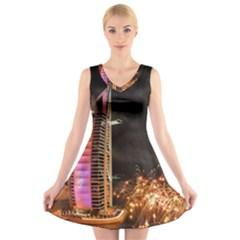 Dubai Burj Al Arab Hotels New Years Eve Celebration Fireworks V-Neck Sleeveless Skater Dress