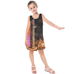 Dubai Burj Al Arab Hotels New Years Eve Celebration Fireworks Kids  Sleeveless Dress