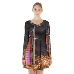 Dubai Burj Al Arab Hotels New Years Eve Celebration Fireworks Long Sleeve Velvet V Neck Dress