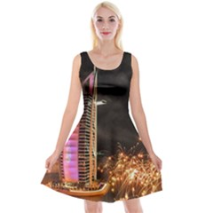 Dubai Burj Al Arab Hotels New Years Eve Celebration Fireworks Reversible Velvet Sleeveless Dress