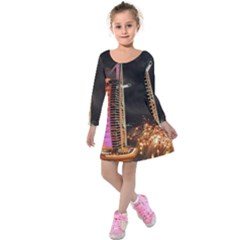 Dubai Burj Al Arab Hotels New Years Eve Celebration Fireworks Kids  Long Sleeve Velvet Dress