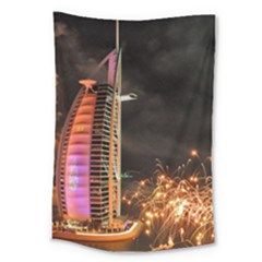 Dubai Burj Al Arab Hotels New Years Eve Celebration Fireworks Large Tapestry