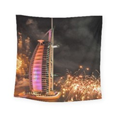 Dubai Burj Al Arab Hotels New Years Eve Celebration Fireworks Square Tapestry (Small)