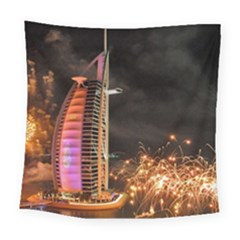 Dubai Burj Al Arab Hotels New Years Eve Celebration Fireworks Square Tapestry (Large)