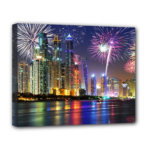 Dubai City At Night Christmas Holidays Fireworks In The Sky Skyscrapers United Arab Emirates Deluxe Canvas 20  X 16
