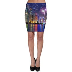 Dubai City At Night Christmas Holidays Fireworks In The Sky Skyscrapers United Arab Emirates Bodycon Skirt