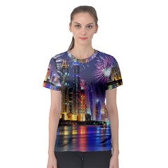 Dubai City At Night Christmas Holidays Fireworks In The Sky Skyscrapers United Arab Emirates Women s Sport Mesh Tee