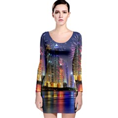 Dubai City At Night Christmas Holidays Fireworks In The Sky Skyscrapers United Arab Emirates Long Sleeve Bodycon Dress