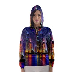 Dubai City At Night Christmas Holidays Fireworks In The Sky Skyscrapers United Arab Emirates Hooded Wind Breaker (women)