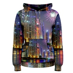 Dubai City At Night Christmas Holidays Fireworks In The Sky Skyscrapers United Arab Emirates Women s Pullover Hoodie