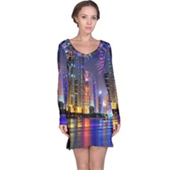 Dubai City At Night Christmas Holidays Fireworks In The Sky Skyscrapers United Arab Emirates Long Sleeve Nightdress