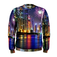 Dubai City At Night Christmas Holidays Fireworks In The Sky Skyscrapers United Arab Emirates Men s Sweatshirt