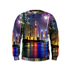 Dubai City At Night Christmas Holidays Fireworks In The Sky Skyscrapers United Arab Emirates Kids  Sweatshirt