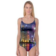 Dubai City At Night Christmas Holidays Fireworks In The Sky Skyscrapers United Arab Emirates Camisole Leotard