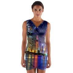 Dubai City At Night Christmas Holidays Fireworks In The Sky Skyscrapers United Arab Emirates Wrap Front Bodycon Dress