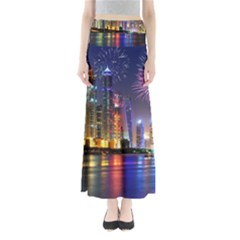 Dubai City At Night Christmas Holidays Fireworks In The Sky Skyscrapers United Arab Emirates Maxi Skirts