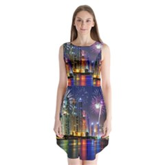 Dubai City At Night Christmas Holidays Fireworks In The Sky Skyscrapers United Arab Emirates Sleeveless Chiffon Dress