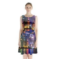 Dubai City At Night Christmas Holidays Fireworks In The Sky Skyscrapers United Arab Emirates Sleeveless Chiffon Waist Tie Dress