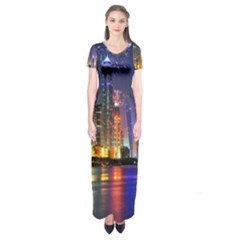 Dubai City At Night Christmas Holidays Fireworks In The Sky Skyscrapers United Arab Emirates Short Sleeve Maxi Dress