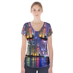 Dubai City At Night Christmas Holidays Fireworks In The Sky Skyscrapers United Arab Emirates Short Sleeve Front Detail Top