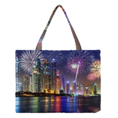 Dubai City At Night Christmas Holidays Fireworks In The Sky Skyscrapers United Arab Emirates Medium Tote Bag